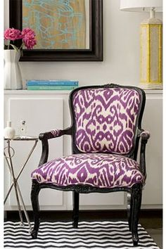 Vintage French Chair reupholstered in an Ikat print.