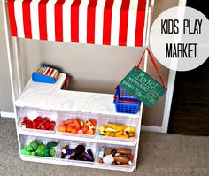 Kids play market.  L-shaped to make room for cash register and buggy underneath.
