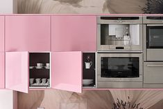 Chic Lacquered Wardrobe for Modern Interior: Lovely Pink Lacquered Cabinets On The Brown Wall Inside The Kitchen Space Near The Glossy Equip.