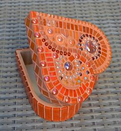 Orange glass mosaic heart shaped box by mimosaico on Etsy