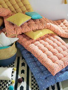 futon mattress padded floor cushion relaxation and sleeping for children or teen… - Diy Möbel Mattress On Floor, Futon Mattress, Kids Floor Cushions, Floor Pillows, Kids Bedroom, Bedroom Decor, Decor Room, Asian Decor, Diy Pillows