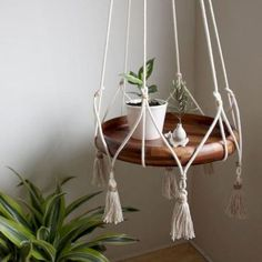 Cotton & Jute Hanging Table Planter w/ Cotton Tassels – Norwegian Wood - Macrame 2019 Hanging Table, Hanging Planters, Macrame Hanging Planter, Macrame Plant Holder, Hanging Gardens, Macrame Projects, Diy Projects, Ideas Prácticas, Home Decor