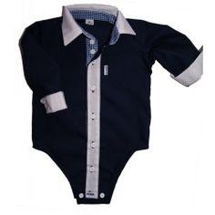 Granatowa koszula w formie body, koszule dla dzieci, koszule dla chłopców