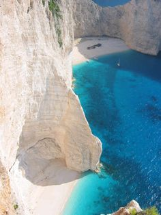One of the most famous beaches in Greece, Navagio Beach in Zakynthos.