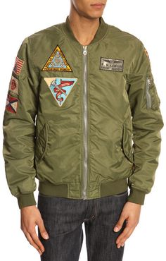 SCOTCH AND SODA Khaki military patched bomber jacket with removable sherpa lining
