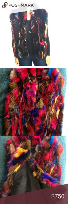 "Adrienne Landau Rainbow Fox Fur Coat Adrienne Landau Multi Fox Fur Vest AVAILABLE FOR SALE NOW PRICE $795.00       PRODUCT DETAILS  	•	Simply STUNNING color and style! 	•	28"" from nape of neck to hemline 	•	Hook closure 	•	Real fox fur; fur imported from China 	•	Genuine fox fur: natural; Lining: polyester 	•	Professional fur clean 	•	Imported 	•	Web ID: 2649625 	•	SZ M- L 	•	Measurements in Inches laying flat: 	◦	Shoulders across back: 18 	◦	Bust: 20 	◦	Waist: 22 	◦	Shoulder to hem…"