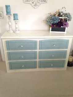 Chalk Painted furniture with Annie Sloan paint - Duck egg blue, Old white, and a combination of light and dark wax!