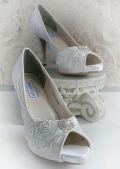 JEWEL lace peep toe bridal shoe in ivory by TheVictorianGarden, $127.00