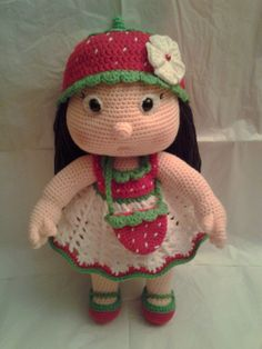 EMILY the Strawberry Girl. Pattern by: Havva Unlu Handmade by: Toledo's Talents