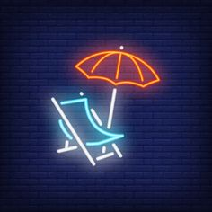 Beach chair and umbrella on dark brick wall background. Neon Light Art, Neon Light Signs, Wallpaper Iphone Neon, Galaxy Wallpaper, Summer Wallpaper, Retro Wallpaper, Neon Wall Signs, Brick Wall Background, Background Banner