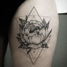 Peony geometric tattoo #peonytattoo #peony #blackworkerssubmission…