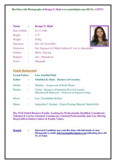 Image Result For Biodata Format For Marriage Word File In 2019