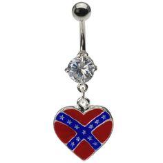 Dangling Heart Rebel Flag Belly Ring                                                                                                                                                                                 More