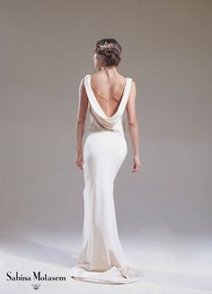 The Josephine dress – Sabina Motasem. A cowl neck, backless, slinky wedding dress and a puddle train. www.motasem.co.uk #biascutweddingdress #cowlneckweddingdress #sabinamotasem | Fab Mood - UK wedding blog: