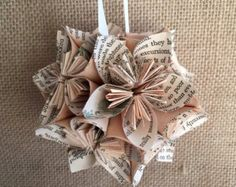Harry Potter Book Small Paper Flower Pomander di Greencycledesigns