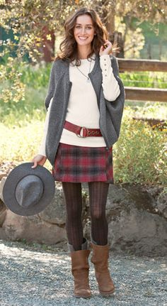 Plaid gets playful in this lively skirt from Woolrich® with kick pleats and patch pockets. | Robert Redford's Sundance Catalog