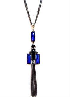 Colar com pingente em pedrarias azul e Black diamond - design Argolla Bureau #colar #azul #necklace #blue #design #fashion#trend
