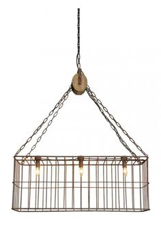Country Farm Style Iron Basket Chandelier w Wooden Pulley and 3 Lights Old Fashioned