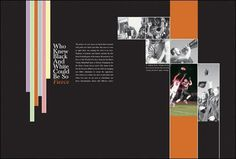 grid - yearbook divider spread could replace stripes with impact word, have the bar be section color.