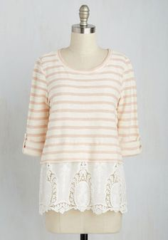 At Oolong Last Top. If youve been searching for the ideal adornment for afternoon tea, look no further than this rose-and-ivory striped top. #cream #modcloth