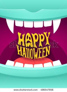 Happy Halloween cute cartoon illustration with open vampire mouth and modern typography. Halloween party poster vector background  #halloween #vampire #fangs #mouth #open #monster #happy #card #cartoon #background #greetingcard #trick-or-treat #typography #lettering #illustration