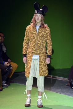 Wavy off-pastel hair. Light mustard graphic brocade. Frilly mint dropcrotches. Comme desGarcons FW13 Mens