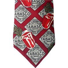 Tall Man Vintage Tabasco Advertising Silk Necktie Bloody Mary