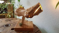 Items similar to Table lamp made of wood, a real unique. on Etsy Homemade Lighting, Natural Wood Table, Shops, Table Lamp Wood, Made Of Wood, Lighting Ideas, Cable, Etsy Shop, Warm