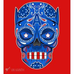 CAPTAIN AMERICA Sugar Skull   Part of the sugar skull series by Vik Kainth - A creative style infusion ...