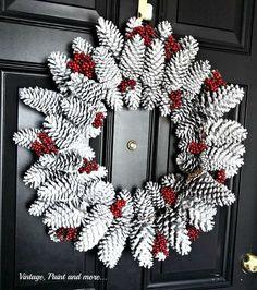 pine cone wreath, christmas decorations, crafts, seasonal holiday decor, wreaths