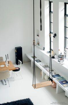Ipv dressoir: beton/steen zodat je er ook op kan zitten? Wel met kastjes/lades/bakken eronder
