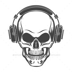 Buy Skull with Headphones by on GraphicRiver. Hand Drawn Human Skull with Headphones. Vector illustration in tattoo style. Skull Headphones, Headphones Tattoo, Mexican Skull Art, Tattoo Caveira, Dope Tattoos, Tatoos, Skeleton Drawings, Simple Canvas Paintings, Halloween Silhouettes