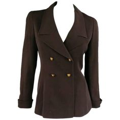 Vintage 1998 CHANEL Size 8 Brown Wool Double Breasted Gold Button Sport Jacket 1