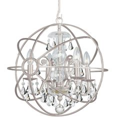 Crystorama 9025-OS-CL-MWP Solaris Chandelier with hand-painted wrought iron sphere and a crystal chandelier dressed with clear hand-cut crystals. 4 Light Mini Chandelier