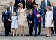 Queen Mathilde looked resplendent in a chic peach lace dress as she was joined by King Phi...