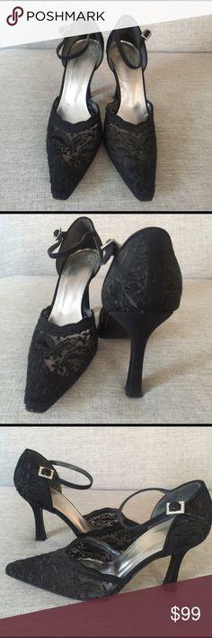 "Vintage Stuart Weitzman lace heels Beautiful black lace heels with rhinestone buckles. Heel height is 3.5"". Best fit for narrow feet. Stuart Weitzman Shoes Heels"