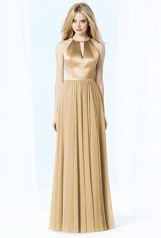 Brides.com: . Style 6705, floor-length halter neck dress, $264, After Six available at Weddington Way