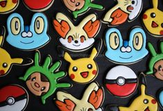 Pokemon Cookies - Pikachu, Fennekin, Chespin, Froakie, Pokeball - The Royal Icing Queen Pokemon Birthday, Pokemon Party, Fun Cookies, Sugar Cookies, Decorated Cookies, Superhero Cookies, Dessert Decoration, Decorations, Chocolate Covered Strawberries