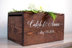 Our personalized wedding card boxes are sure to impress at your ceremony and reception! With slots on either side for convenience, this box is easy to display on your gift table. With the concerns of stolen cards these days, weve designed a unique way of locking up your box. Instead of
