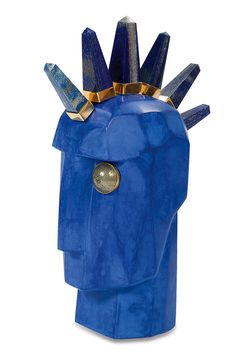 """Hand crafted in Los Angeles, this """"Byron"""" Super Luxe Head Trip Sculpture is one–of–a–kind and signed by Kelly. Byron features lapis and bronze spikes bezel set in gold. Kelly Wearstler, Jonathan Adler, White Books, Home Garden Design, Interior Styling, Interior Accessories, Interior Design, Modern Art Deco, Prop Styling"""