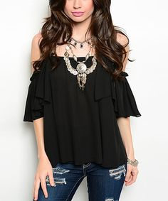 Look at this Black Ruffle Off-Shoulder Top by Shop the Trends Black Lace Tops, Black Ruffle, Ruffle Top, Stylish Outfits, Cute Outfits, Fashion Outfits, Dress Up Shoes, Diva Fashion, Womens Fashion