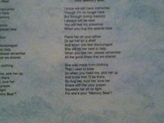 Pin by Barb Neely on so   Pinterest   Bears, Sewing labels and ... : memorial quilt poems - Adamdwight.com