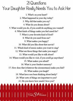 21 questions to ask your daughter
