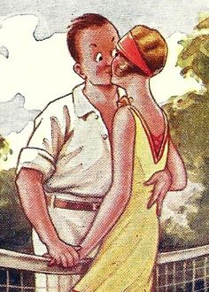 Vintage Tennis Lovers Postcard Romantic Kiss by TheIDconnection, $12.00