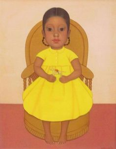 "Gustavo Montoya (1905 - 2003) ""Girl with Toy Horse"" Oil on canvas, 23 x 18"