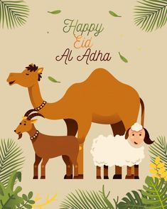Happy eid al adha greeting with camel goat and sheep Premium Vector Happy Eid Al Adha, Eid Al Adha Wishes, Eid Al Adha Greetings, Happy Eid Mubarak, Eid Mubarak Banner, Eid Adha Mubarak, Eid Mubarak Quotes, Eid Mubarak Images, Eid Wallpaper