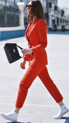 office+casual+outfit+:+red+suit+++bag+++converse #omgoutfitideas #stylish #clothes