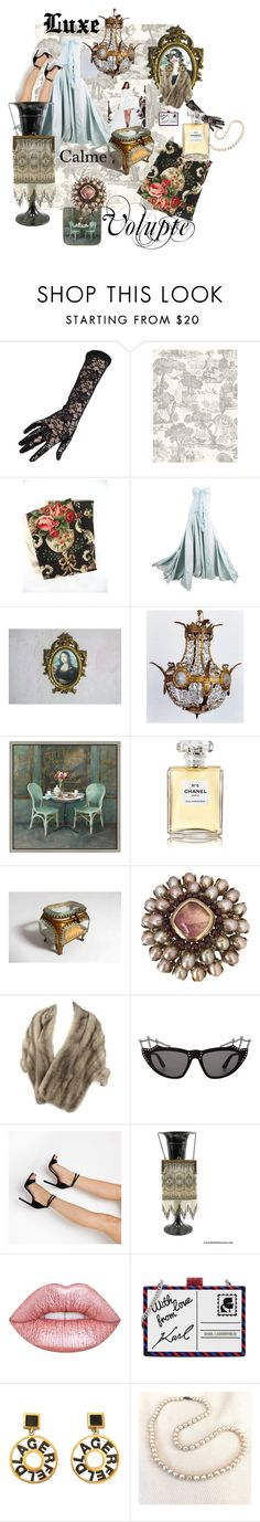 """""""Baudelaire Said it Best"""" by vintagefrenchlinens ❤ liked on Polyvore featuring Black, John Galliano, Balmain, Green Leaf Art, Chanel, Epoque, Goossens, Yves Saint Laurent, Lime Crime and Karl Lagerfeld"""