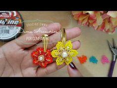 Summer Flowers Earrings in Mostasillas Seed Bead Earrings, Beaded Earrings, Earrings Handmade, Beaded Jewelry, Beaded Bracelets Tutorial, Earring Tutorial, Jewelry Making Tutorials, Beading Tutorials, Flower Video