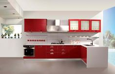 Contemporary Red Kitchen Design Set With Inspirational Plan